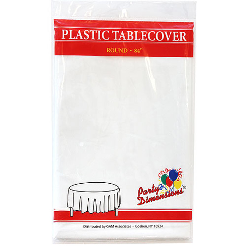 """White Round 84"""" Plastic Tablecover"""