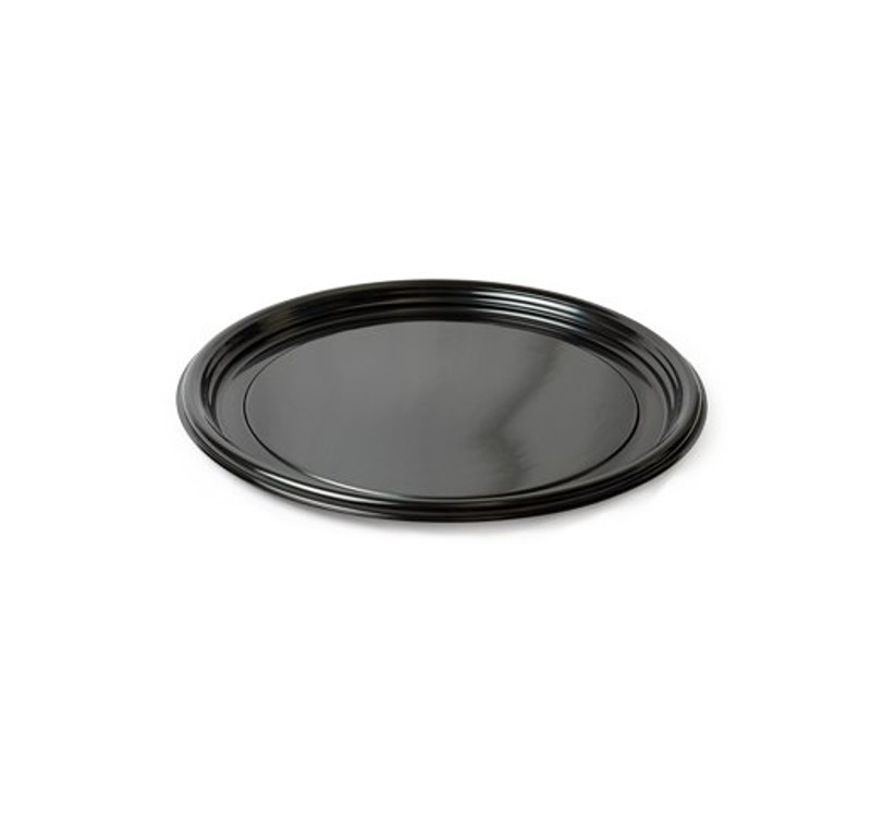 "Thermoform 12"" Round Vintage Black Plastic Trays"