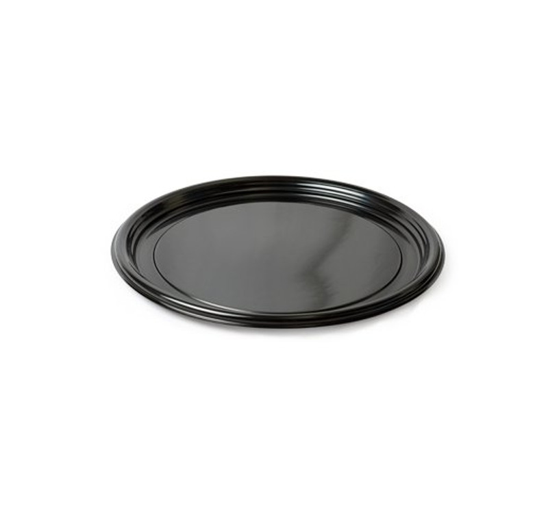 "Thermoform 16"" Round Vintage Black Plastic Trays"