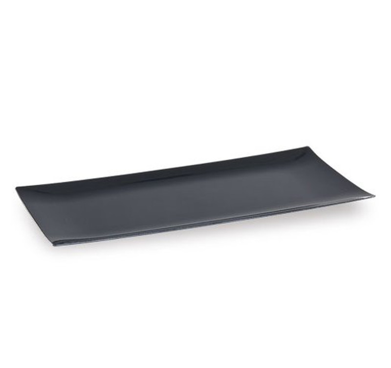"Lillian 13"" x 6.25"" Black Plastic Condiment Tray"
