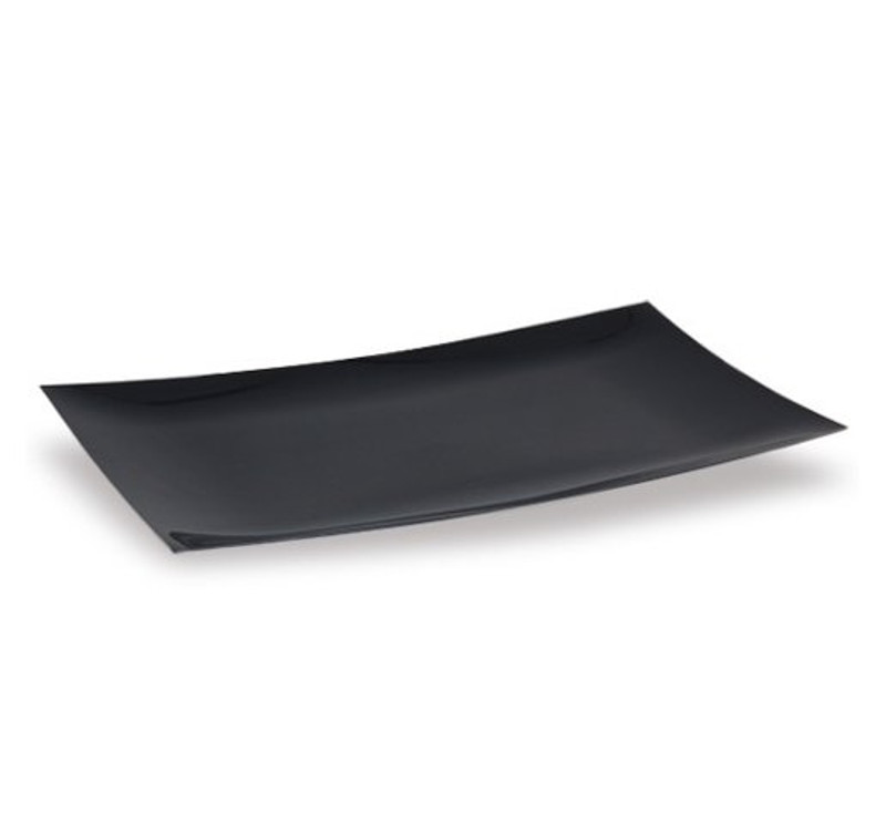 "Lillian 9"" x 13"" Black Plastic Serving Tray"
