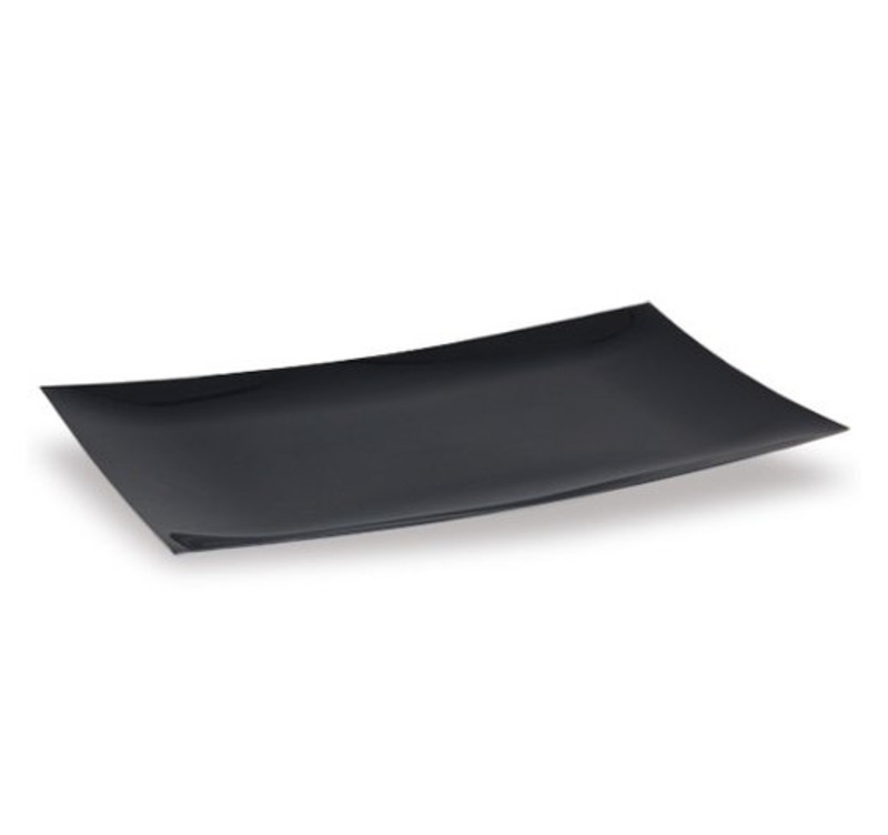 "Lillian 12"" x 18"" Black Plastic Serving Tray"