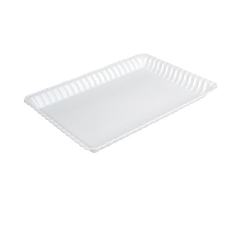 "Flairware 9"" x 13"" White Plastic Serving Trays"