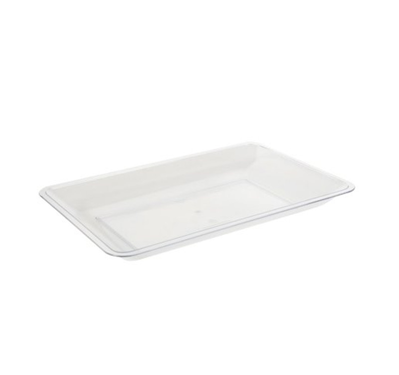 "10"" x 14"" Clear Heavyweight Plastic Serving Tray"