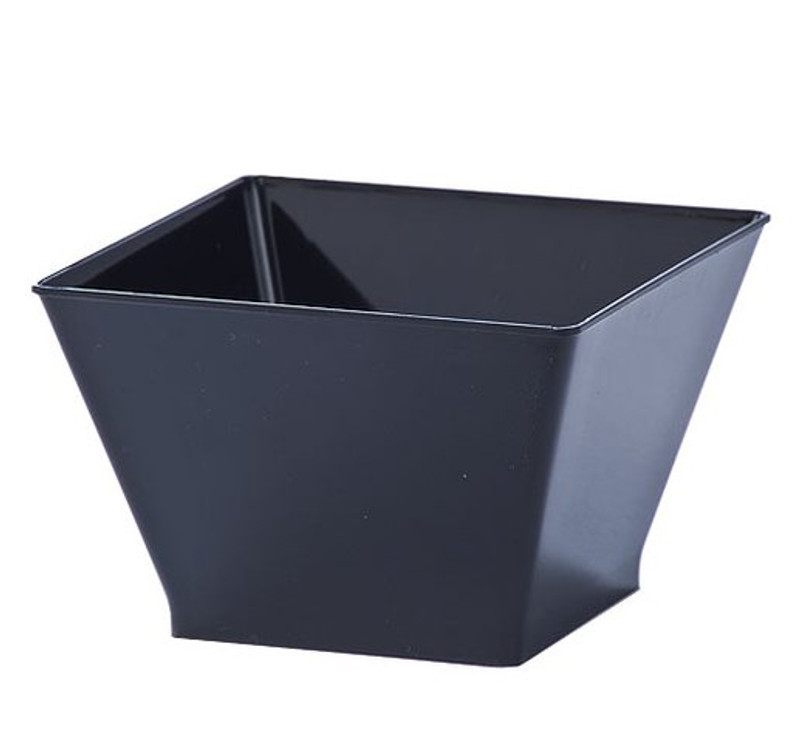 Lillian 8 oz. Black Square Plastic Condiment Bowls