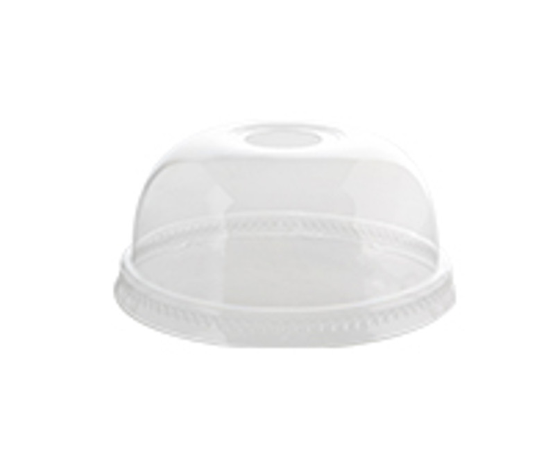 Clear Plastic Smoothie Dome Lids w/Hole-Small