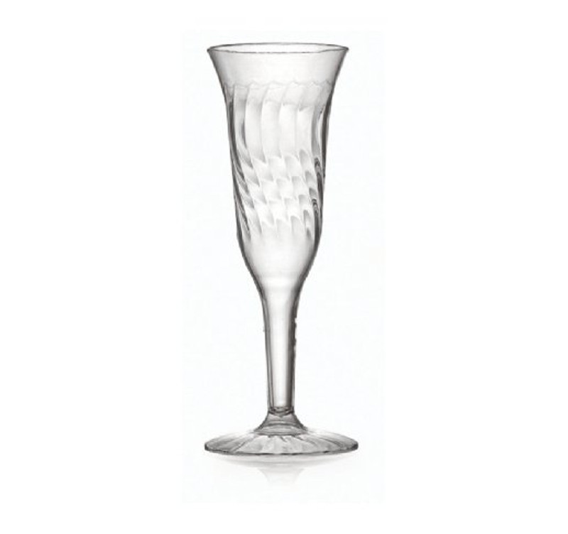 Flairware elegant champagne flutes with scalloped design. Perfect for classy dinner parties or weddings. These flutes are made from heavyweight plastic. Sold in wholesale bulk and retail.