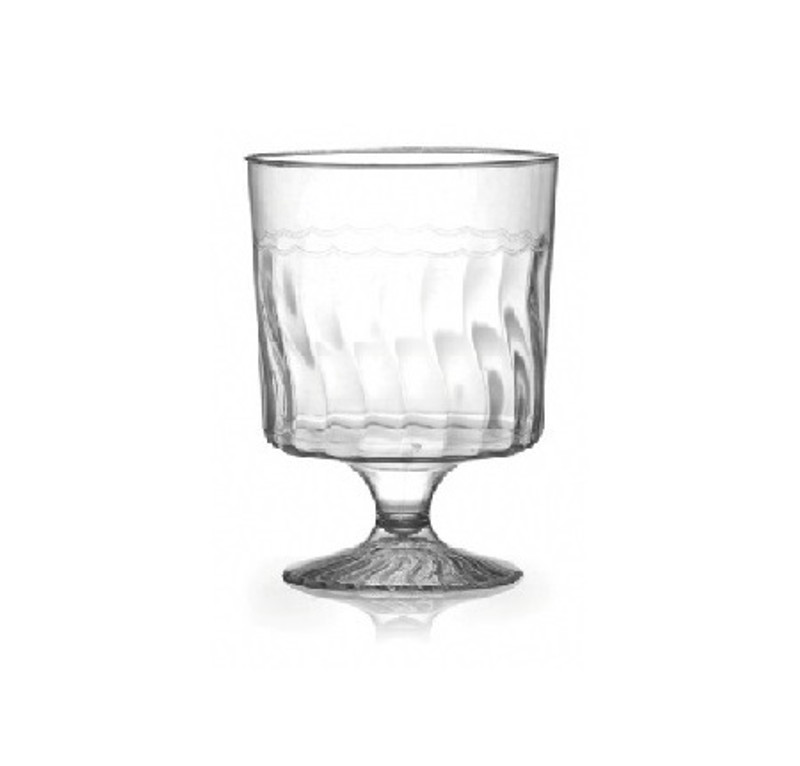 Flairware elegant wine cups with scalloped design. Perfect for classy dinner parties or weddings. These cups are made from heavyweight plastic. Sold in wholesale bulk and retail.