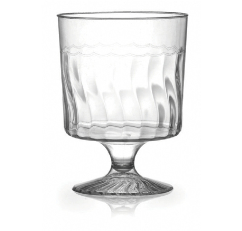 Flairware elegant wine glasses with scalloped design. Perfect for classy dinner parties or weddings. These glasses are made from heavyweight plastic. Sold in wholesale bulk and retail.