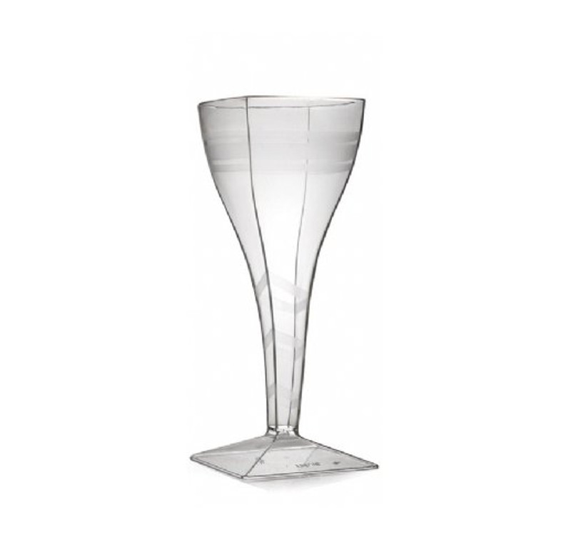 Wavetrends elegant square wine glasses with translucent stripe design. Perfect for classy dinner parties or weddings. These glasses are made from heavyweight plastic. Sold in wholesale bulk and retail.