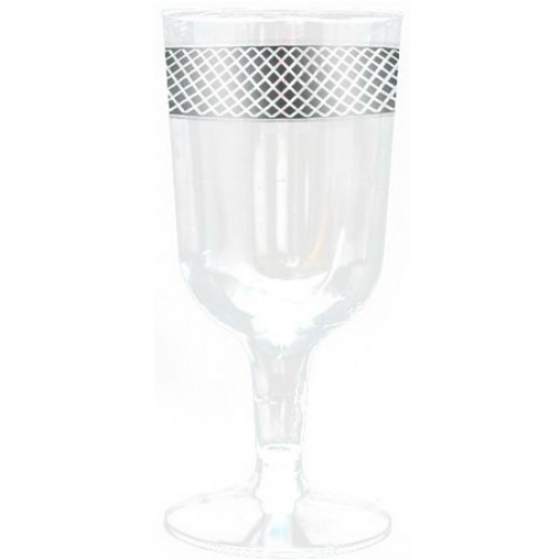Decor Crystal 6 oz Silver Plastic Wine Glasses