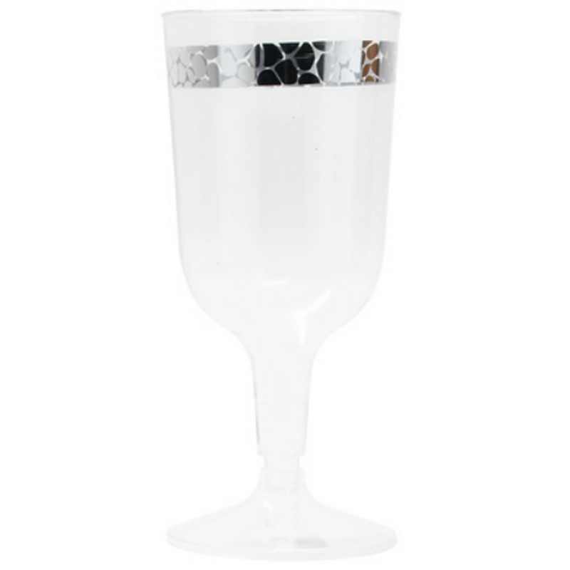 Decor Hammered 6 oz Silver Plastic Wine Glasses