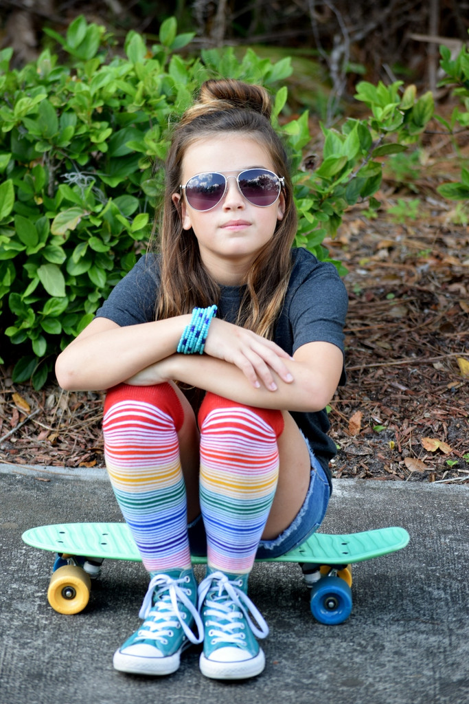 photo shoot on my skate board and my pride socks