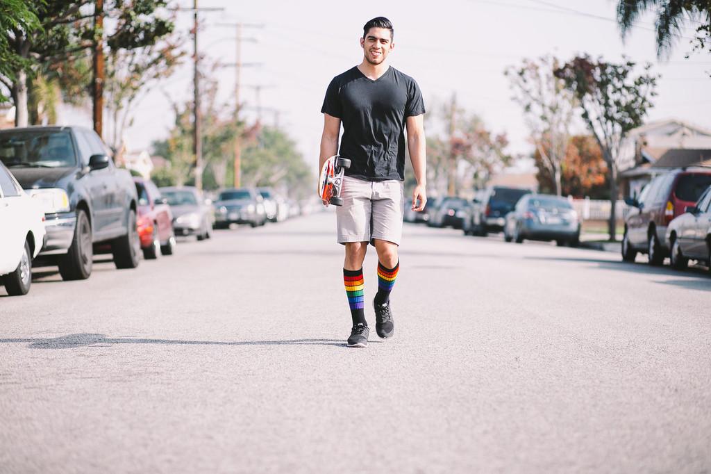 modeling in my pride socks