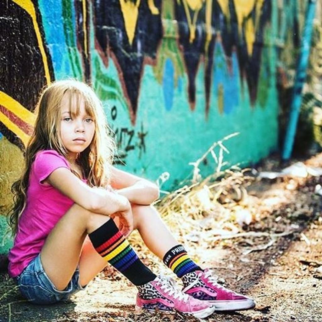 modeling in my black rainbow tube socks