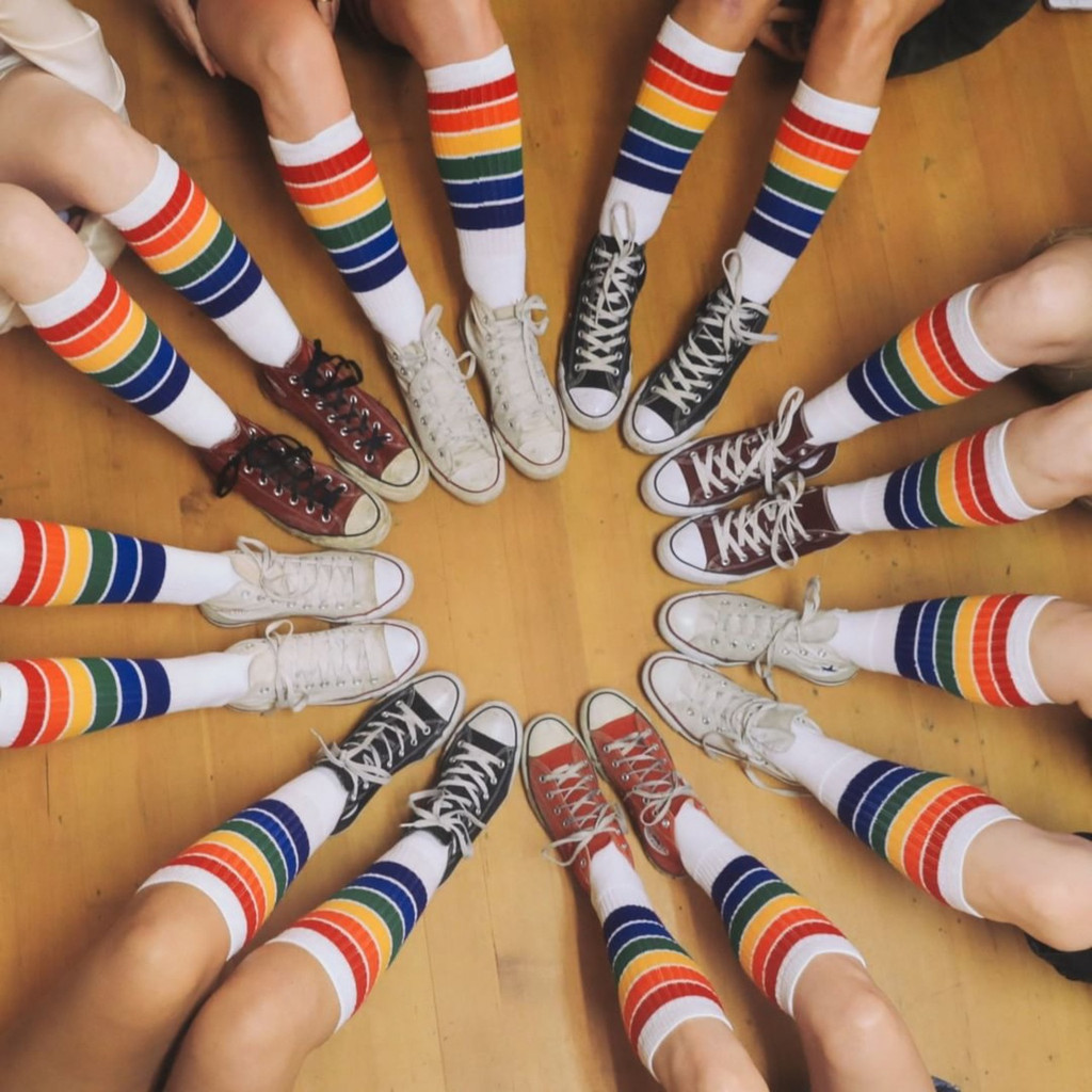 when all your friends are rocking out the rainbow striped yolo pride socks