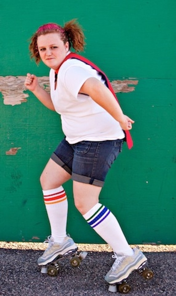 roller skating is so much fun when I wear my pride socks.