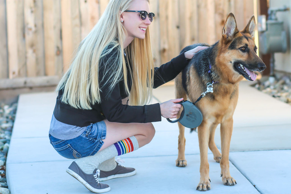 pride socks and her dog.