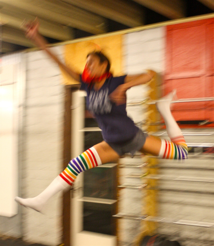 When you put on our rainbow striped thigh high tube pride socks, you may feel like a super hero.  We are not responsible for your actions! ha