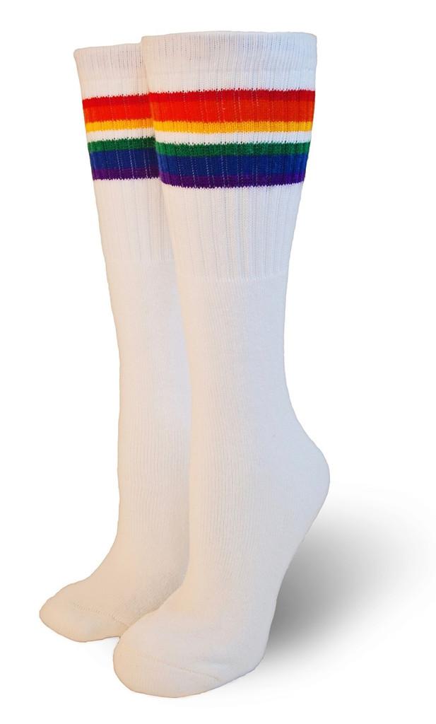retro childrens rainbow tube socks