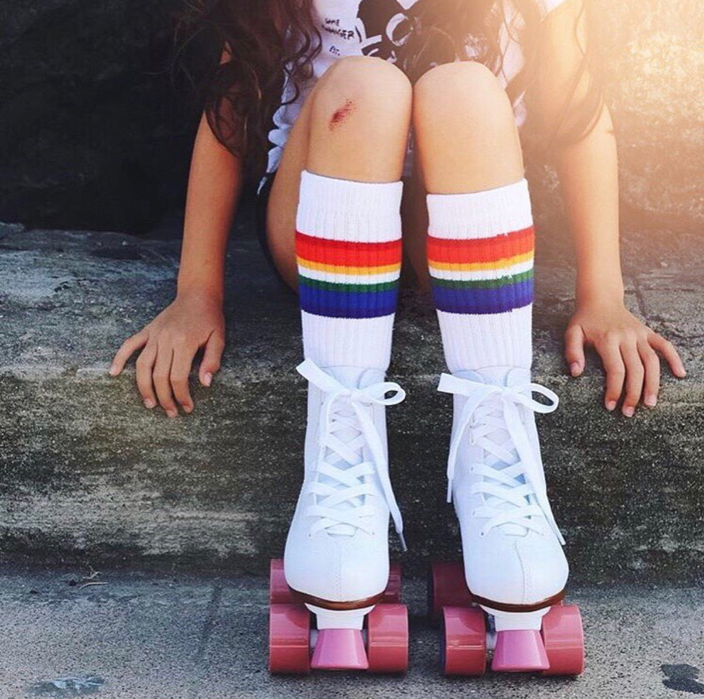 sometimes in life you have to fall but know you get right back up and tackle the task.  learn those life lessons early and feel extra proud of yourself when you are wearing your pride socks