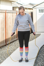 working out in my rainbow women striped socks