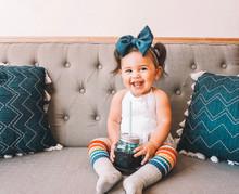 gray pride socks make toddlers happy and smile
