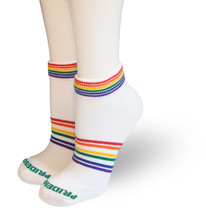 no matter the workout, we have your feet covered in pride with our moisture wicking rainbow athletic socks.