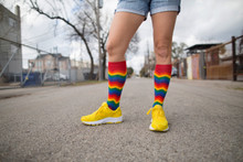 hanging out in houston in my rainbow chevron pride socks