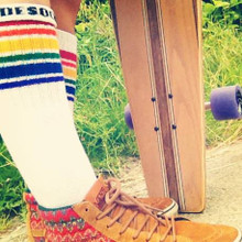 me, my pride socks and my long board.  thats called living the life.