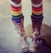 cowboy boots and rainbow socks are made for each other