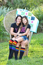 mom and daughter matching black rainbow striped pride socks