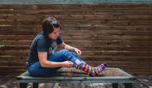 check out my rainbow womens puzzle pride socks