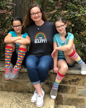 mom life with her matching twins in their womens rainbow casual socks