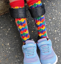 our rainbow puzzle socks are perfect fit for the afo braces