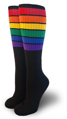 black retro rainbow knee high pride socks