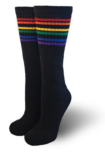 Black under the knee rainbow socks