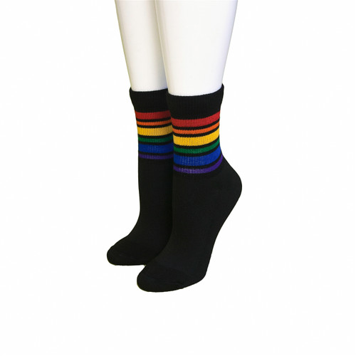 black low cut athletic rainbow striped pride socks