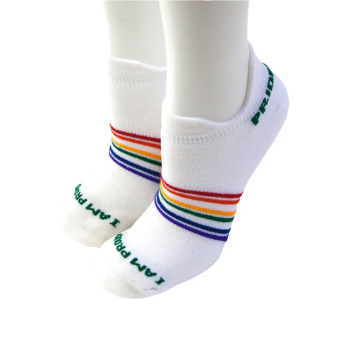 our white no show rainbow striped pride socks will carry on the pride you have for yourself while you workout, run, golf or play tennis