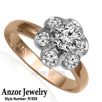 Russian Style Platinum and Rose Gold Diamond Ring R1929 Anzor Jewelry