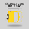 "Self-Closing Gate For Flat Bar or Wall Mount 19-25"" (Safety Yellow)"