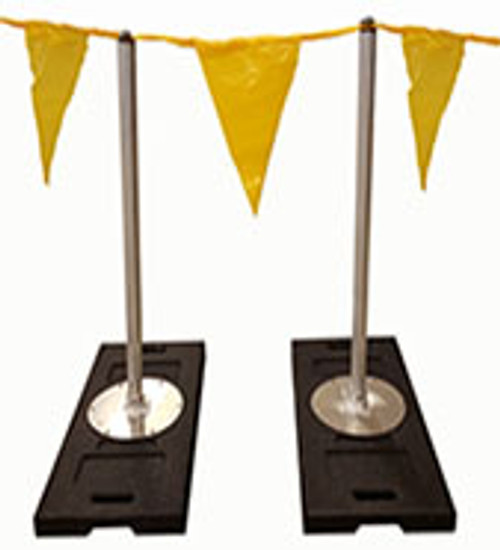 For an economical way to warn workers of a potential hazard, the Never-Rust Warning Line is the answer. Stanchion spacing is determined by the type of flagged warning line you are using. A lightweight warning line can allow a 20' - 25' spacing between stanchions. Heavier warning line or cable may require 10' spacing.