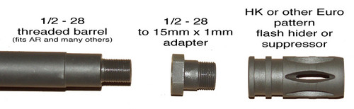 1/2 - 28 to 15mm x 1mm thread adapter