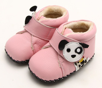 """Freycoo """"Pup"""" Pink Soft Sole Leather Shoes"""