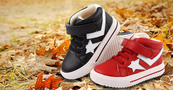 """Freycoo """"Dunk"""" Red Leather Hi top Shoes"""