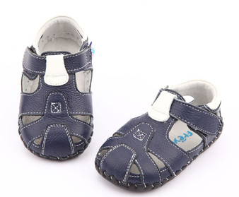 "Freycoo ""Breezy"" Navy Leather Soft Sole Sandals"