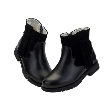 "TS ""Winona"" Black Leather Ankle Boots"