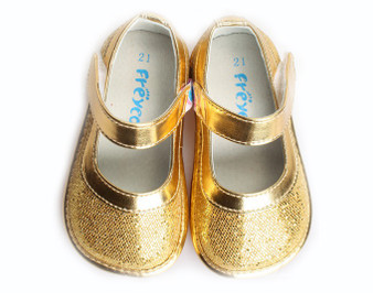 """Freycoo """"Cleo"""" Sparkly Glitter Gold Shoes"""
