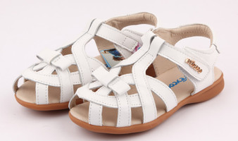 """Pre Order Freycoo """"Tilly"""" white leather girls sandals"""