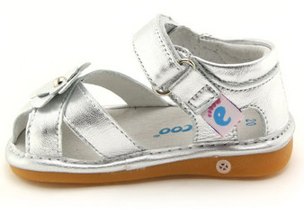 """Freycoo """"River"""" Girls Silver Leather Sandals"""